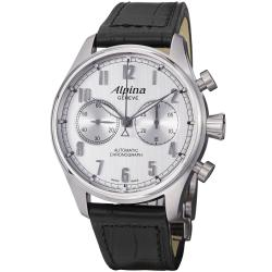 Alpina Men's 'Aviation' Silver Dial Black Strap Automatic Watch