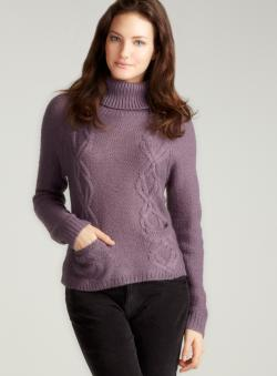 August Silk Lavender Cable Knit Turtleneck