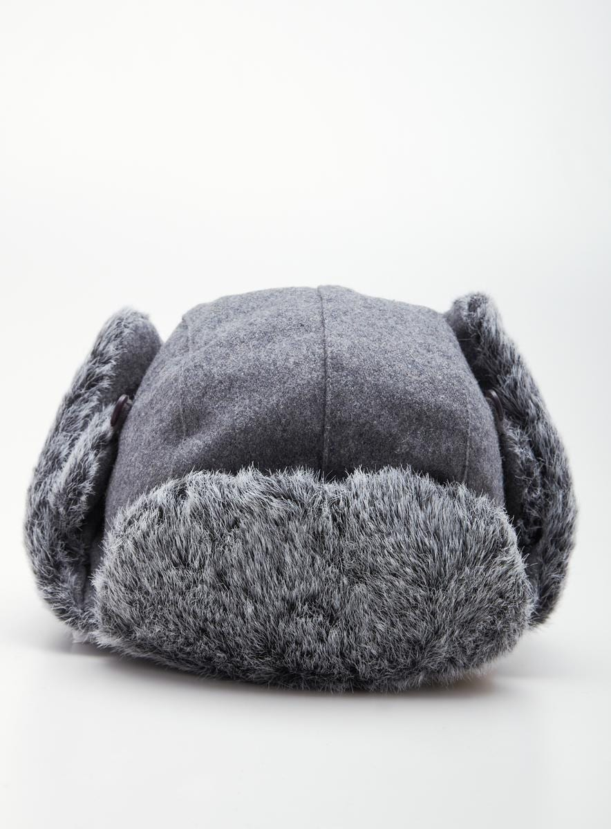 Crown Caps Hat Faux Fur Wool Aviator