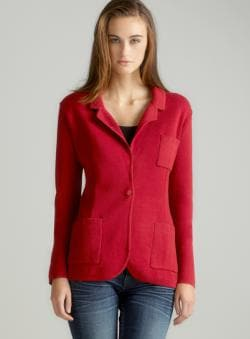 Audrey & Grace Red Notch Collar Jacket