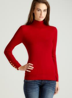 Evelyn Cashmere D3-Turtleneck W/Button On Cuff A