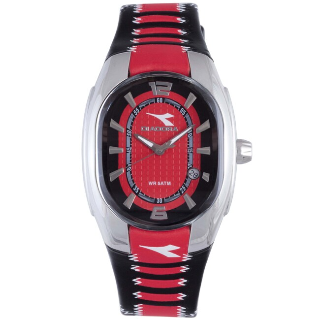 Diadora Women's Black/ Red Leather Oval Date Watch