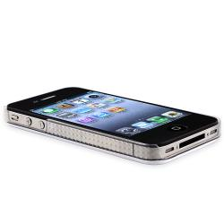 White Shiny Case/ Front and Back LCD Protector for Apple iPhone 4/ 4S