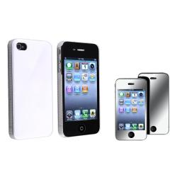 White Shiny Case/ Mirror Screen Protector for Apple iPhone 4/ 4S