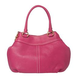 Prada Pink Leather Double Handle Hobo Bag