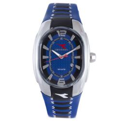 Diadora Men's Blue/ Black Leather Oval Date Watch