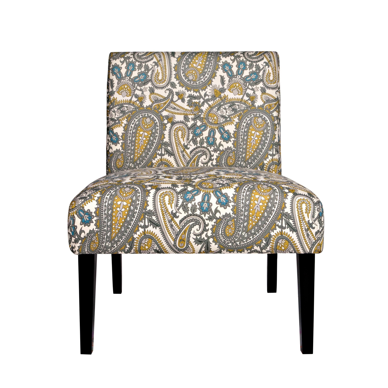 Portfolio Niles Gray Floral Paisley Armless Chair