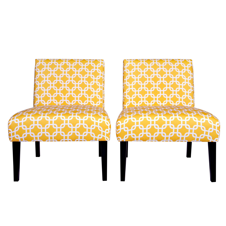 Portfolio Niles Yellow Geometric Links Armless Chair (Set of 2)