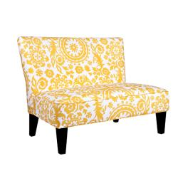 Portfolio Hali Yellow Medallion Armless Settee