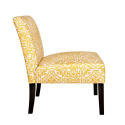 angelo:HOME Bradstreet Damask Yellow/ Cream Armless Chair