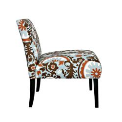 Portfolio Niles Brown/ Blue Floral Medallion Armless Chair