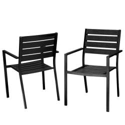Christopher Knight Home Lanai Black Poly Wood Outdoor Chairs (Set of 2)
