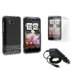 Clear Crystal Case/ LCD Protector/ Car Charger for HTC ThunderBolt 4G