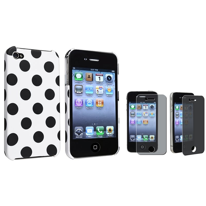 White Dot Case/ Privacy Filter LCD Protector for Apple iPhone 4/ 4S