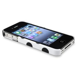 White Polka Dot Case/ Diamond LCD Protector for Apple iPhone 4/ 4S