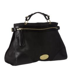 Mulberry 'Taylor' Oversized Black Leather Satchel