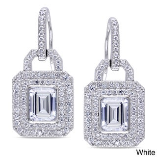 Miadora Sterling Silver Yellow or White Cubic Zirconia Dangle Earrings