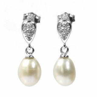 De Buman Sterling Silver Freshwater Pearl and Cubic Zirconia Earrings