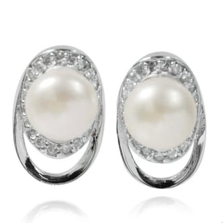 De Buman Sterling Silver Freshwater Pearl and Cubic Zirconia Earrings