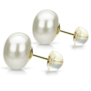 DaVonna 24k Gold over Sterling White Freshwater Pearl Stud Earring