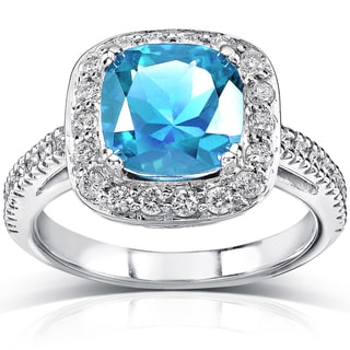 Annello 14k White Gold Blue Topaz and 2/5 ct TDW Diamond Ring (H-I, I1-I2)