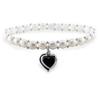 Sterling Silver Freshwater White Pearl and Onyx Bracelet