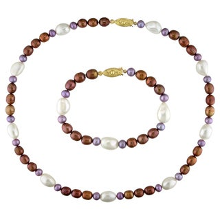 M by Miadora Set of Multi-color Cultured Freshwater Pearl Bracelet and Necklace (5-10 mm)