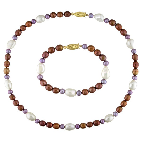 Miadora Set of Multi-color Cultured Freshwater Pearl Bracelet and Necklace (5-10 mm) 11129227