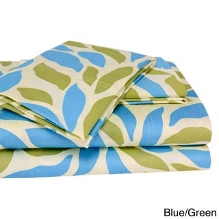 T300 100-percent Cotton Malaga Print 4-piece Sheet Set