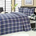 Blue/ Grey Plaid Microplush Blanket 2-piece Sham Set