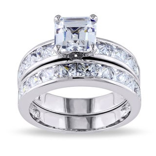 Miadora Sterling Silver Cubic Zirconia Bridal Set Ring