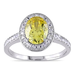 Miadora Sterling Silver Yellow and White Cubic Zirconia Engagement Ring
