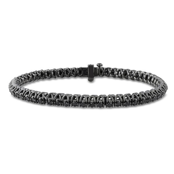 Miadora Sterling Silver 1ct TDW Black Diamond Tennis Bracelet