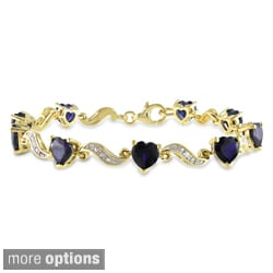 Miadora Yellow Plated Silver Sapphire or Emerald and Diamond Bracelet