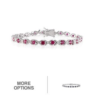 Miadora Sterling Silver Sapphire or Created Ruby and Diamond Bracelet