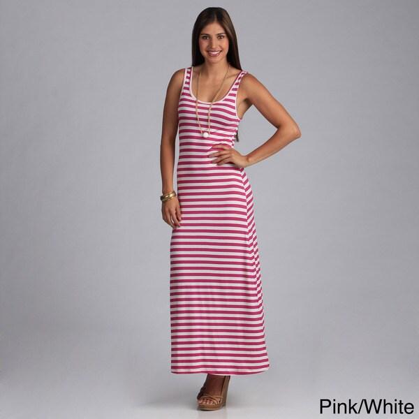 Tabeez Women's Sleeveless Striped Maxi Dress