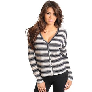Stanzino Women's Long Sleeve Striped Button Front Top