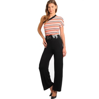 Stanzino Women's Single Shoulder Two-tone Jumpsuit