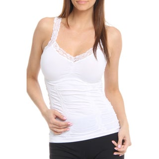 24/7 Frenzy Women's Lace Trim Wrinkled White Camisole