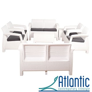 Mykonos White 8-piece Conversation Set