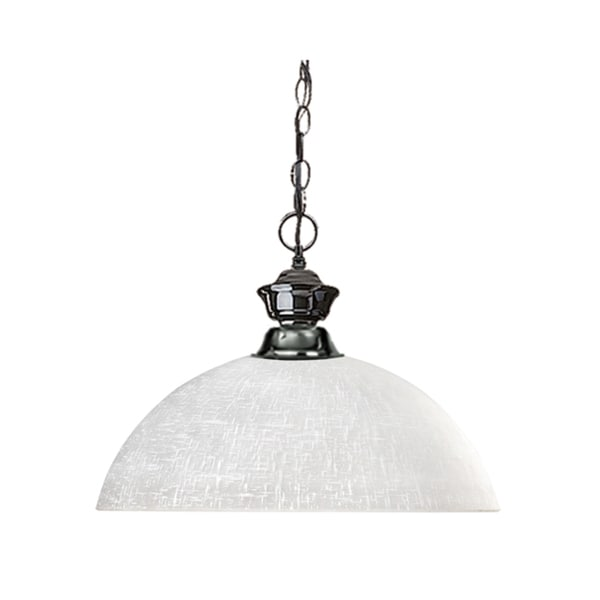 Shark White Linen Shade Gun Metal 1-light Pendant