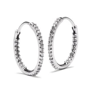 PalmBeach Platinum over Silver 1/8ct TDW Diamond Hoop Earrings (G-H, I2-I3)