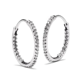 Isabella Collection Platinum over Silver 1/8ct TDW Diamond Hoop Earrings (G-H, I2-I3)