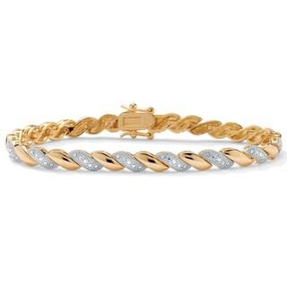 PalmBeach Gold Overlay 1/10ct TDW Diamond Bracelet (I-J, I2-I3)