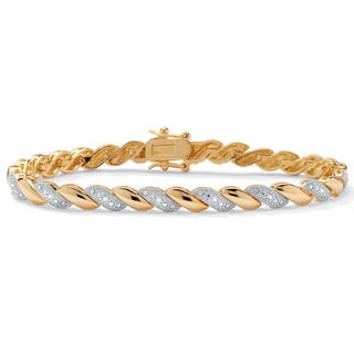 PalmBeach 1/10 TCW Diamond Accent Wave-Link Bracelet 18k Gold-Plated 7.25""