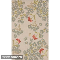 Paule Marriot Hand-Hooked Cannes Contemporary Outdoor Floral Rug (2' x 3')