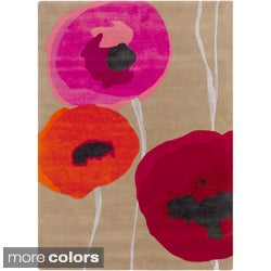 Sanderson Hand-tufted Poppies Contemporary Floral Rug (2' x 3')