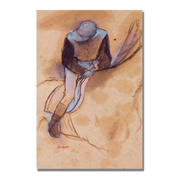 Edgar Degas 'Jockey Flexed Forward in Saddle' Canvas Art
