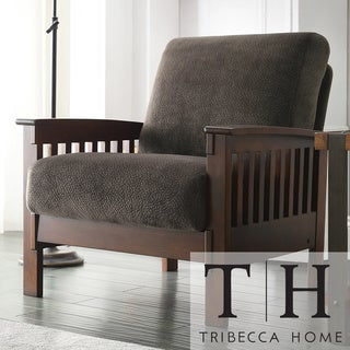 Tribecca Home Mission Dark Brown Champion Fabric Chair