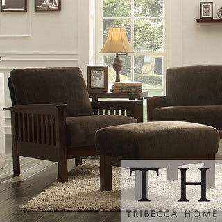Tribecca Home Mission Dark Brown Champion Fabric Chair and Ottoman
